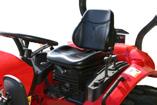 Gefederter Komfortsitz mit Sicherheitsgurt und individueller Anpassung an das Fahrergewicht